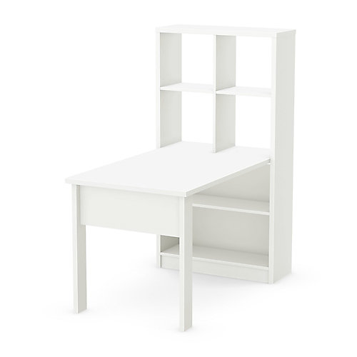 Annexe Work Table and Storage Unit Combo, Pure White