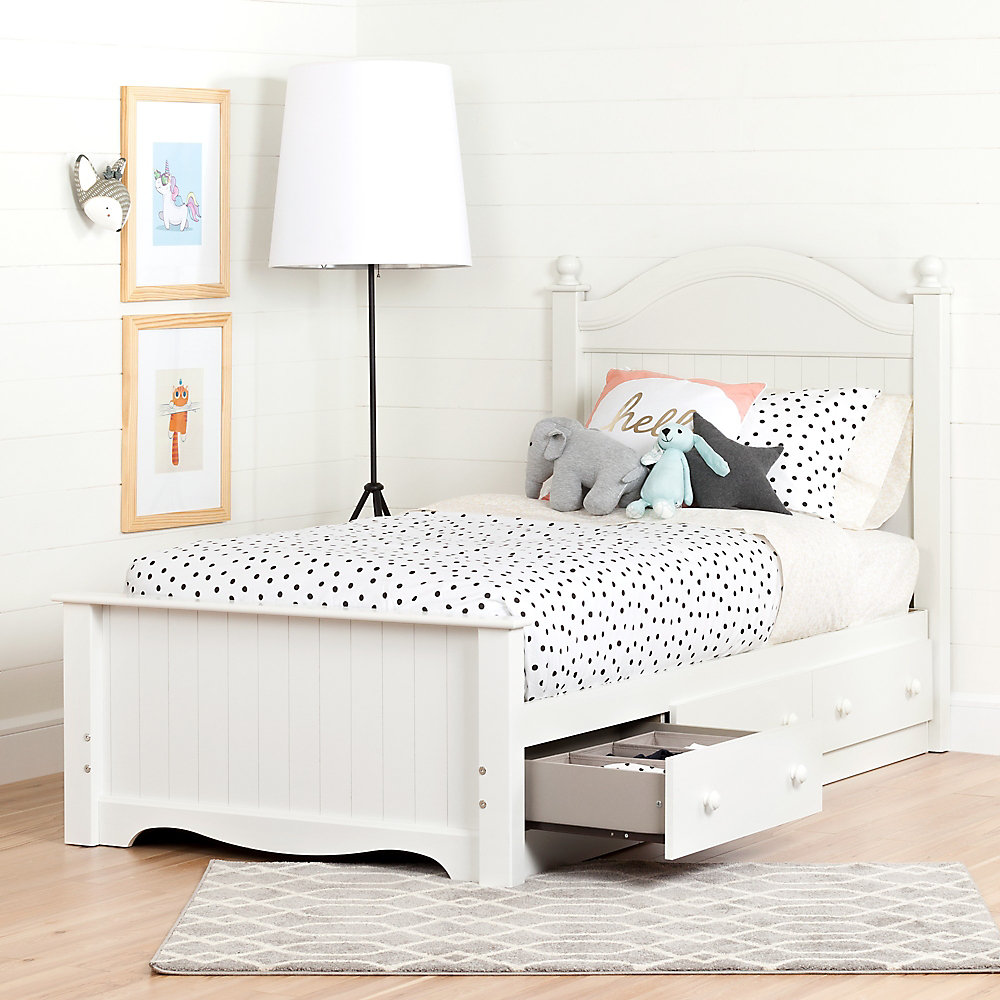 Savannah Twin Bed Set With 3 Drawers 39 Pure White