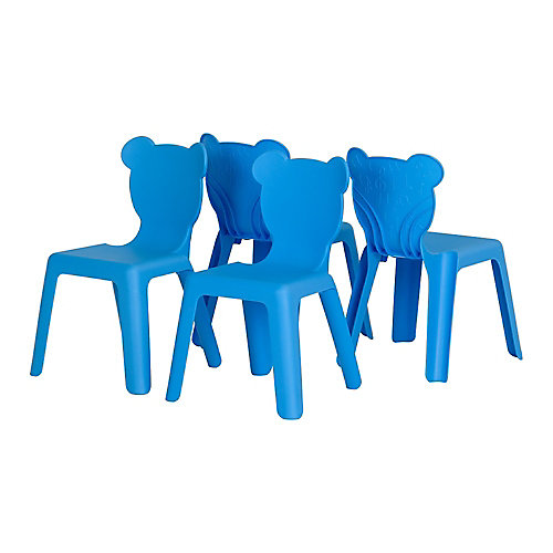 Crea Blue Kids Plastic Stacking Chairs (4-Pack)
