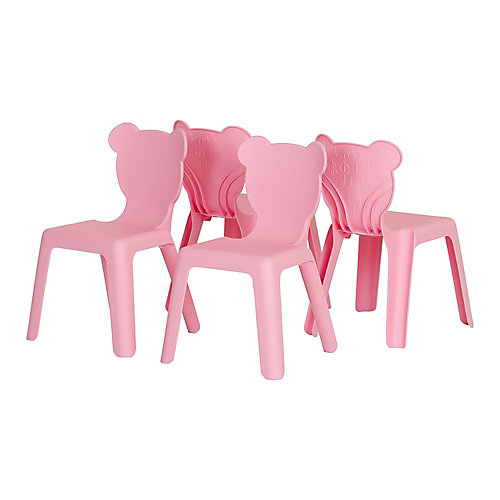 Crea Pink Kids Plastic Stacking Chairs (4-Pack)