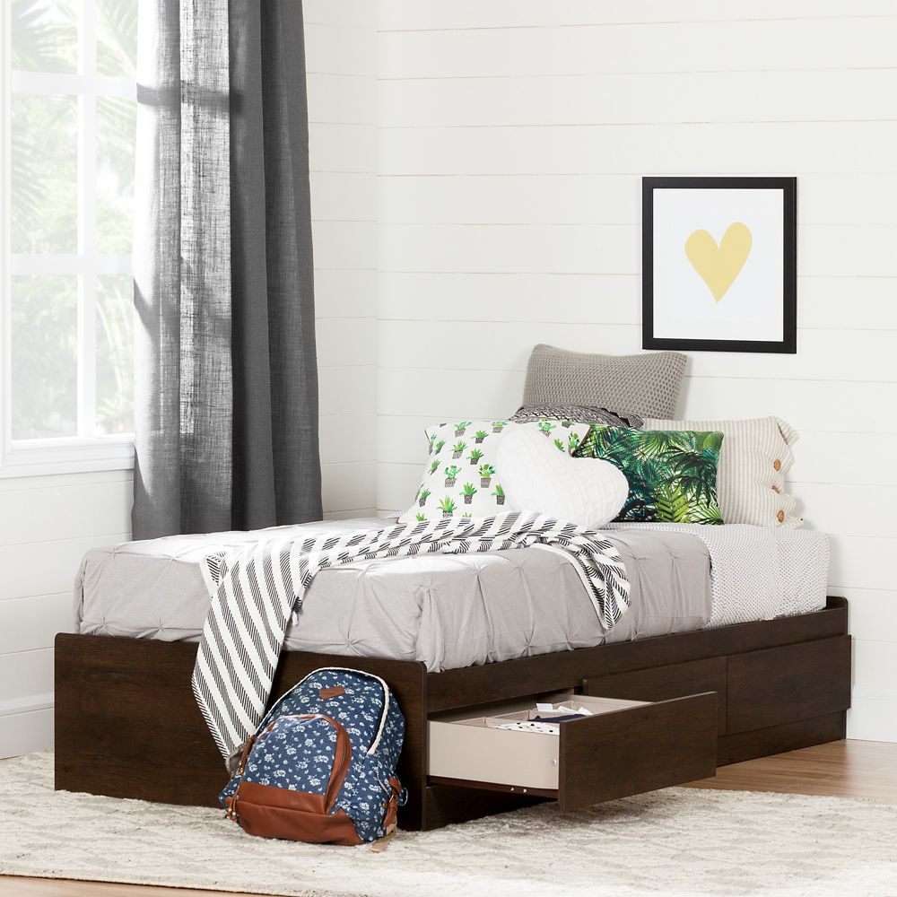 South Shore Fynn Twin Mates Bed (39'') with 3 Drawers, Brown Oak