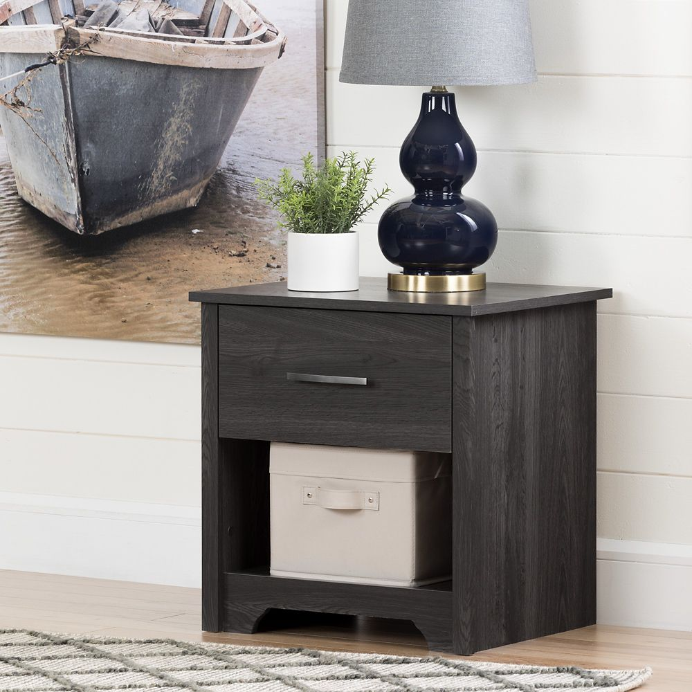 South Shore Fusion 1-Drawer Nightstand, Gray Oak