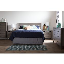 South Shore Gravity 6-Drawer Double Dresser and 2-Drawer Nightstand, Gray Maple