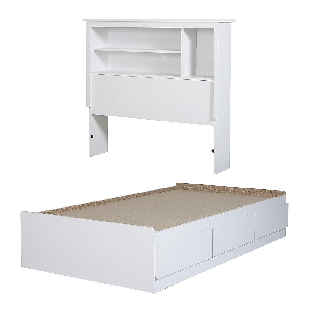 95c005c5f781 South Shore Vito Twin Mates Bed with Bookcase Headboard (39