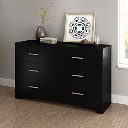 South Shore Gramercy 6-Drawer Double Dresser, Pure Black