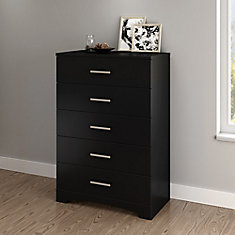 Gramercy 5-Drawer Chest, Pure Black