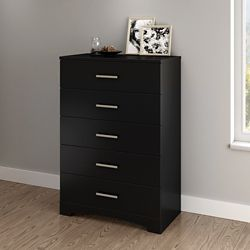 South Shore Commode 5 tiroirs Gramercy, Noir solide