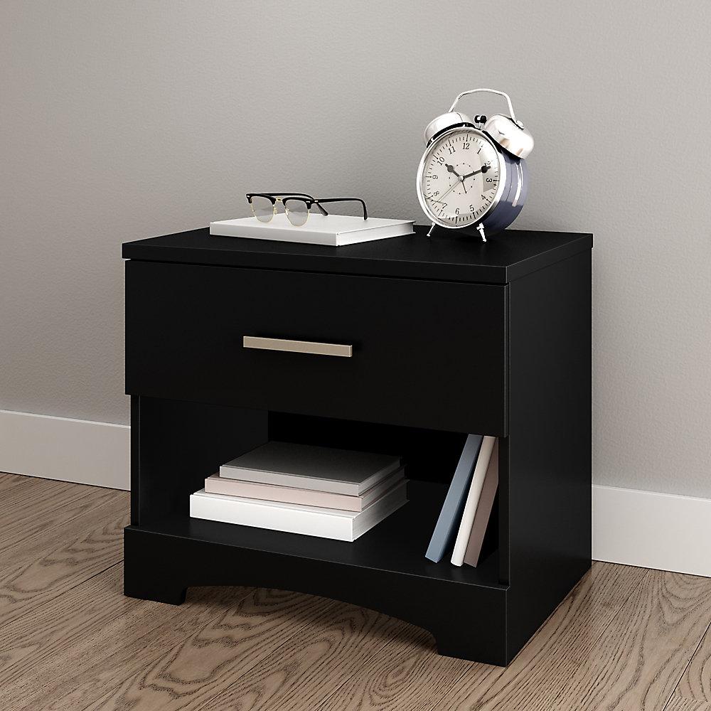 Table de chevet 1 tiroir Gramercy, Noir solide