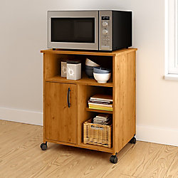 South Shore Axess Microwave Cart with Storage on Wheels, Country Pine