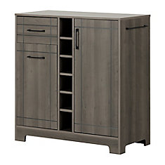 Vietti Bar Cabinet with Bottle and Glass Storage, Gray Maple