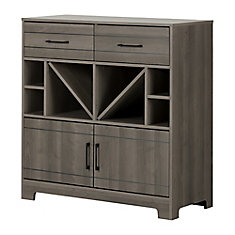 Vietti Bar Cabinet with Bottle Storage and Drawers, Gray Maple