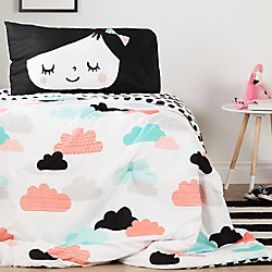 South Shore DreamIt Black and White Night Garden Reversible Twin Comforter and Pillowcase
