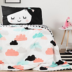 DreamIt Black and White Night Garden Reversible Twin Comforter and Pillowcase
