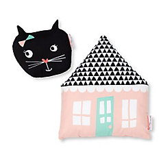 DreamIt Pink and Black Night Garden Throw Pillows, 2- Pack
