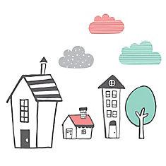 Autocollants muraux Jardin de nuit Maisons du quartier DreamIt, Rose et noir