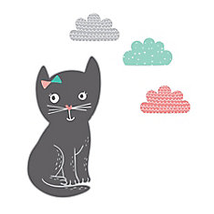 Autocollants muraux Jardin de nuit petit chat DreamIt, Noir