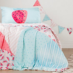 DreamIt Pink and Turquoise Watermelons Reversible Twin Comforter and Pillowcase, with Pennant Banner