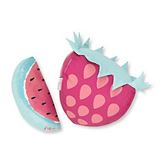 DreamIt Pink and Turquoise Strawberry & Watermelon Throw Pillows, 2- Pack