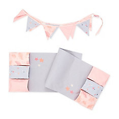 DreamIt Pink and Gray Doudou the rabbit Changing Table Runner and Pennant Banner