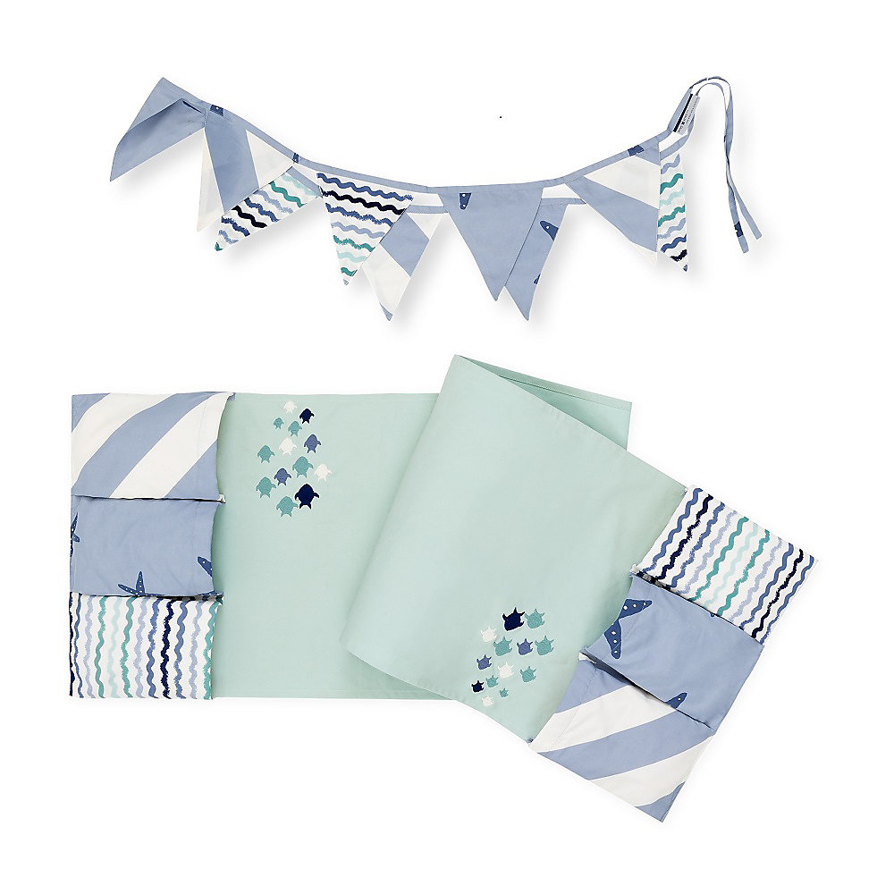 DreamIt Blue Little Whale Changing Table Runner and Pennant Banner