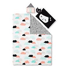 Ensemble douillette simple avec taie d'oreiller et coussins décoratifs Jardin de nuit, Noir et Blanc
