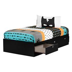 South Shore Spark Pure Black and White Twin Mates Bed with Superheroes Comforter and Pillowcase