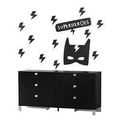 South Shore Bureau double 6 tiroirs avec autocollants muraux Super-héros Spark, Noir solide