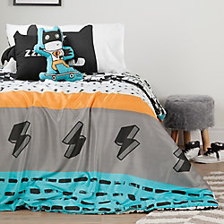 South Shore DreamIt Black and White Superheroes Twin Comforter Set & Throw Pillows