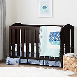 South Shore Angel Espresso and Blue Crib with Toddler Rail and Little Whale 4-Piece Bed Set