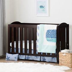 South Shore Lit de bébé avec barrière de transition et ensemble de literie pour bébé 4 pièces Petit baleine
