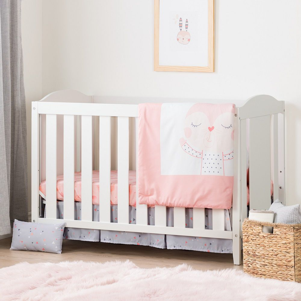 South Shore Angel Pure White and Pink Crib with Toddler Rail and Doudou the rabbit 4-Piece Bed Set