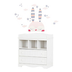 Savannah Pure White and Pink Changing Table with Doudou the rabbit Wall Decals