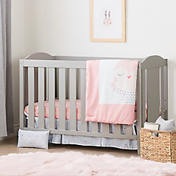 South Shore Angel Soft Gray and Pink Crib with Toddler Rail and Doudou the rabbit 4-Piece Bed Set