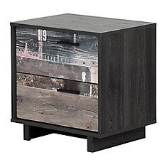 Table de chevet 2 tiroirs Fynn, Chêne gris et effet planches industrielles