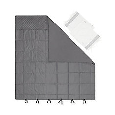 Lodge Gray Quilted Comforter with Pillow Shams, Queen