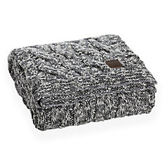 Lodge Gray Cable-Knit Throw Blanket