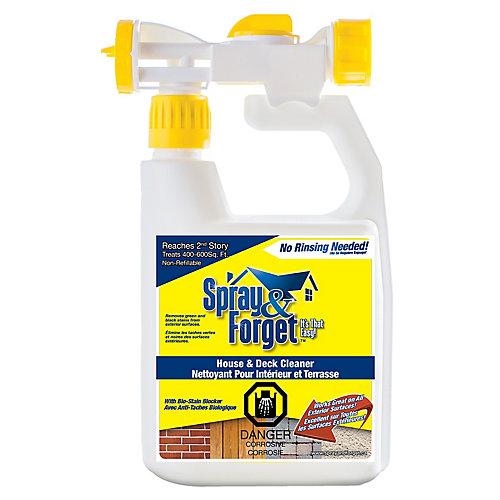 Nettoyant pour la maison et la terrasse, Nettoyant pour l'extérieur, avec pulvérisateur à l'extrémité du boyau 32 oz