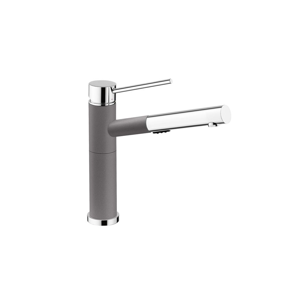 Blanco Alta Pull-Out Dual Spray Kitchen Faucet - Chrome and Metallic Gray Dual Finish