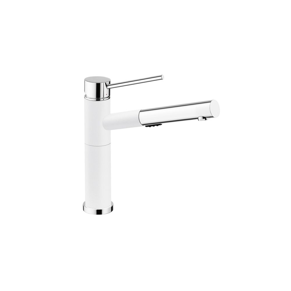 Blanco Alta Pull-Out Dual Spray Kitchen Faucet - Chrome and White Dual Finish