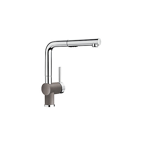 Posh Pull Out Dual Spray Kitchen Faucet - Chrome and Metallic Gray Dual Finish