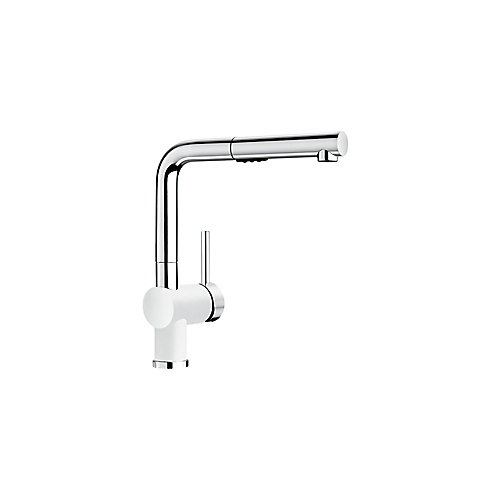 Posh Pull Out Dual Spray Kitchen Faucet - Chrome and White Dual Finish