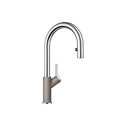 Urbena Pull Down Dual Spray Kitchen Faucet - Chrome and Truffle Dual Finish