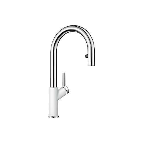 Urbena Pull Down Dual Spray Kitchen Faucet - Chrome and White Dual Finish