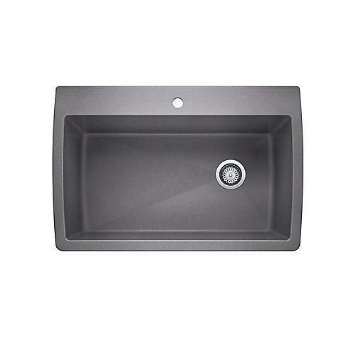 Diamond Super Single Top Mount Kitchen Sink - Metallic Gray SILGRANIT Granite Composite
