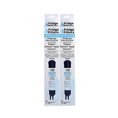 Fast Flow Replacement Water/Ice Filter for Whirlpool 4396841, PUR 2260515, KitchenAid & Maytag (2-Pack)