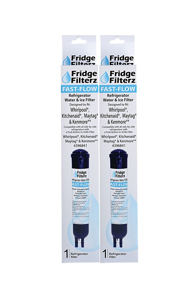 Fridge Filterz Fast Flow Whirlpool 4396841, PUR 2260515, KitchenAid & Maytag Replacement Water & Ice Filter - 2PK