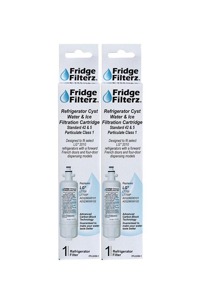 Fridge Filterz LG LT700, LT700P, ADQ36006101, ADQ36006102 Replacement Water & Ice Filter - 2 Pack