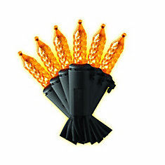 100-Light Orange LED Faceted M5 Halloween Lights