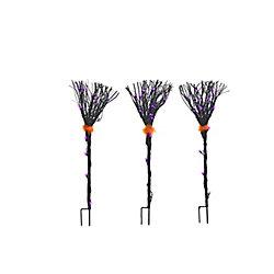 HAL Grapevine Black Broom Loween Decoration (Set Of 3)
