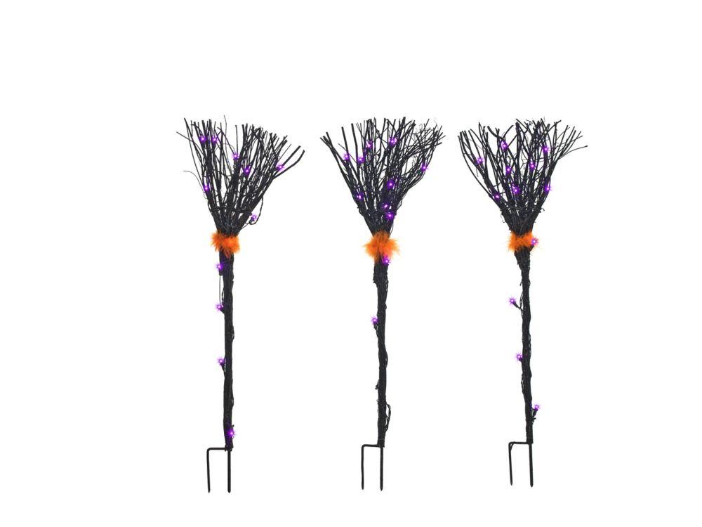 Grapevine Black Broom Halloween Decoration (Set of 3)